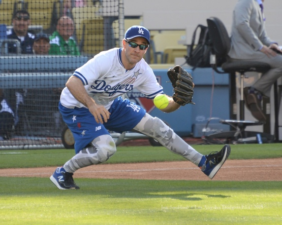 James Vanderbeek fields the ball during the Hollywood Stars softball game prior to Los Angeles Dodgers game against the St.Louis Cardinals Saturday, June 6, 2015 at Dodger Stadium in Los Angeles,California. Photo by Jon SooHoo/©Los Angeles Dodgers,LLC 2015