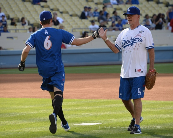 Kevin Dietzen (L) is high fived by Allen Thicke during the Hollywood Stars softball game prior to Los Angeles Dodgers game against the St.Louis Cardinals Saturday, June 6, 2015 at Dodger Stadium in Los Angeles,California. Photo by Jon SooHoo/©Los Angeles Dodgers,LLC 2015