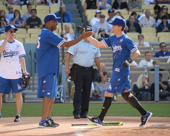Brian Dietzen¨ is greeted at home plate by teammate Kevin Frazier after hitting a two run home run during the Hollywood Stars softball game before the Los Angeles Dodgers game against the St.Louis Cardinals Saturday, June 6, 2015 at Dodger Stadium in Los Angeles,California. Photo by Jon SooHoo/©Los Angeles Dodgers,LLC 2015