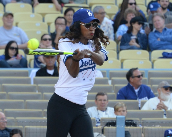 Lisa Leslie hits during the Hollywood Stars softball game  prior to Los Angeles Dodgers game against the St.Louis Cardinals Saturday, June 6, 2015 at Dodger Stadium in Los Angeles,California. Photo by Jon SooHoo/©Los Angeles Dodgers,LLC 2015