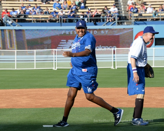 Omar Miller doubles during the Hollywood Stars Night prior to Los Angeles Dodgers game against the St.Louis Cardinals Saturday, June 6, 2015 at Dodger Stadium in Los Angeles,California. Photo by Jon SooHoo/©Los Angeles Dodgers,LLC 2015