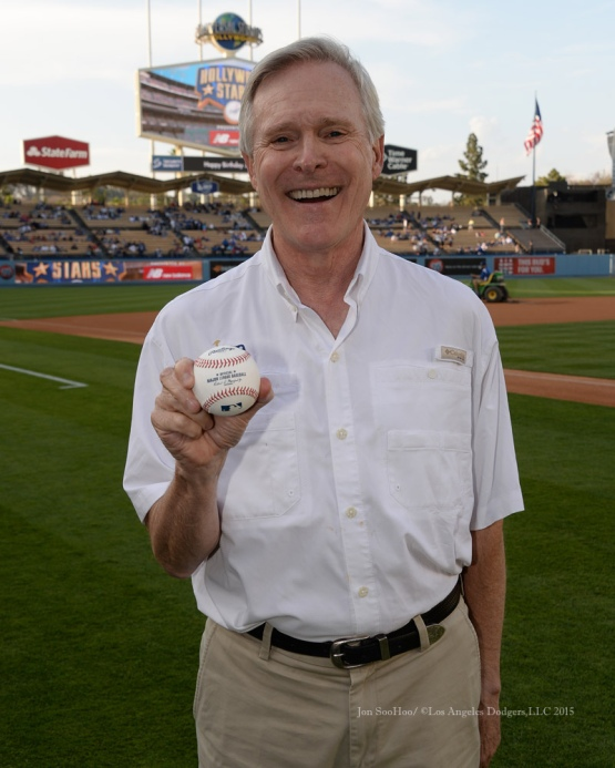 The 75th United States Secretary of the Navy, Ray Mabus prepares to throw out the ceremonial first pitch prior to the Los Angeles Dodgers game vs the St.Louis Cardinals Saturday, June 6, 2015 at Dodger Stadium in Los Angeles,California. Photo by Jon SooHoo/©Los Angeles Dodgers,LLC 2015