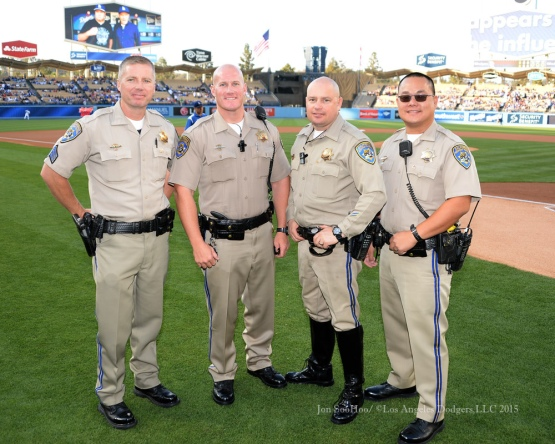California Highway Patrol members pose prior to the Los Angeles Dodgers game against the St.Louis Cardinals Saturday, June 6, 2015 at Dodger Stadium in Los Angeles,California. Photo by Jon SooHoo/©Los Angeles Dodgers,LLC 2015