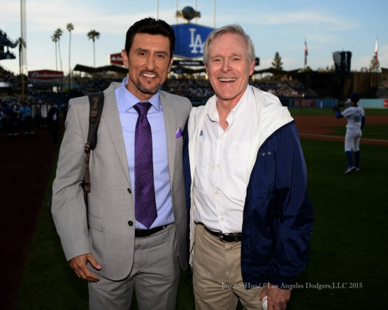 Nomar Garciaparra poses with US Secretary of the Navy Ray Mabus prior to the Los Angeles Dodgers game against the St.Louis Cardinals Saturday, June 6, 2015 at Dodger Stadium in Los Angeles,California. Photo by Jon SooHoo/©Los Angeles Dodgers,LLC 2015