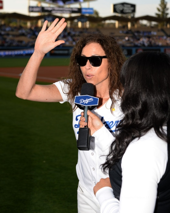 Minnie Driver prior to the Los Angeles Dodgers game against the St.Louis Cardinals Saturday, June 6, 2015 at Dodger Stadium in Los Angeles,California. Photo by Jon SooHoo/©Los Angeles Dodgers,LLC 2015