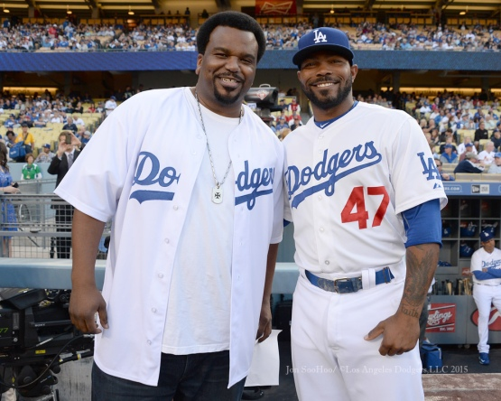 Actor Craig Robinson poses with Los Angeles Dodger Howie Kendrick prior to game against the St.Louis Cardinals Saturday, June 6, 2015 at Dodger Stadium in Los Angeles,California. Photo by Jon SooHoo/©Los Angeles Dodgers,LLC 2015