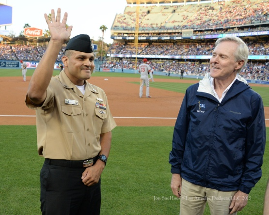 Navy E6 Petty Officer First Class, Ramon Noriega is honored during the Los Angeles Dodgers game against the St.Louis Cardinals Saturday, June 6, 2015 at Dodger Stadium in Los Angeles,California. Photo by Jon SooHoo/©Los Angeles Dodgers,LLC 2015