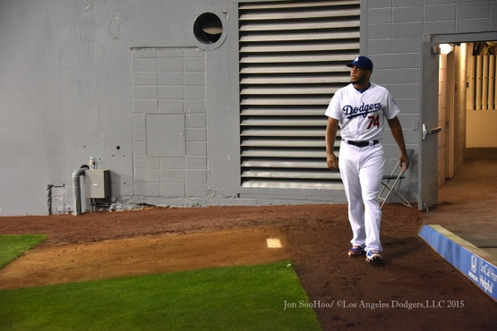 Los Angeles Dodgers Kenley Jansen prepares to pitch during game against the St.Louis Cardinals Saturday, June 6, 2015 at Dodger Stadium in Los Angeles,California. Photo by Jon SooHoo/©Los Angeles Dodgers,LLC 2015