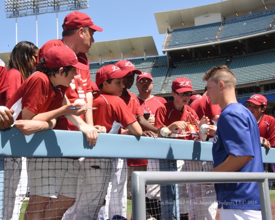 Los Angeles Dodgers Joc Pederson signs for Westchester Little League prior to game against the St.Louis Cardinals Sunday, June 7, 2015 at Dodger Stadium in Los Angeles,California. Photo by Jon SooHoo/©Los Angeles Dodgers,LLC 2015