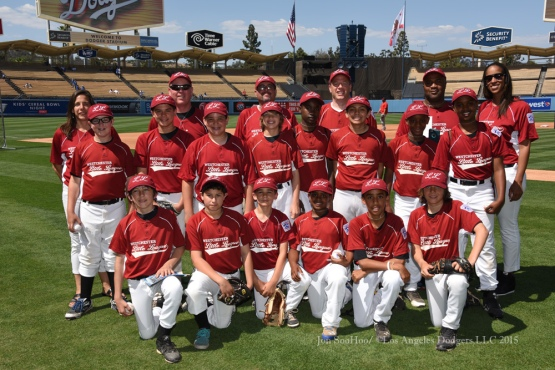 Westchester Little League team photo prior to the Los Angeles Dodgers game against the St.Louis Cardinals Sunday, June 7, 2015 at Dodger Stadium in Los Angeles,California. Photo by Jon SooHoo/©Los Angeles Dodgers,LLC 2015