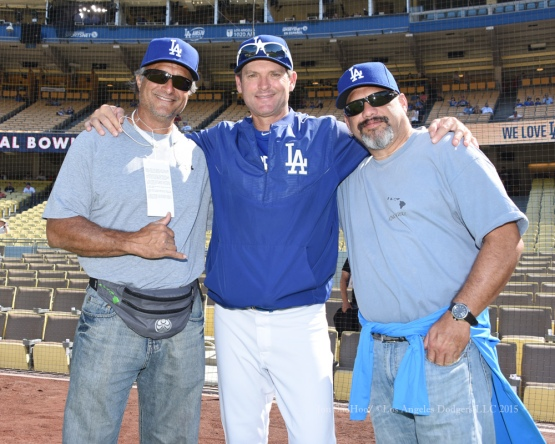 Los Angeles Dodgers Chuck Crim poses with friends prior to  game against the St.Louis Cardinals Sunday, June 7, 2015 at Dodger Stadium in Los Angeles,California. Photo by Jon SooHoo/©Los Angeles Dodgers,LLC 2015