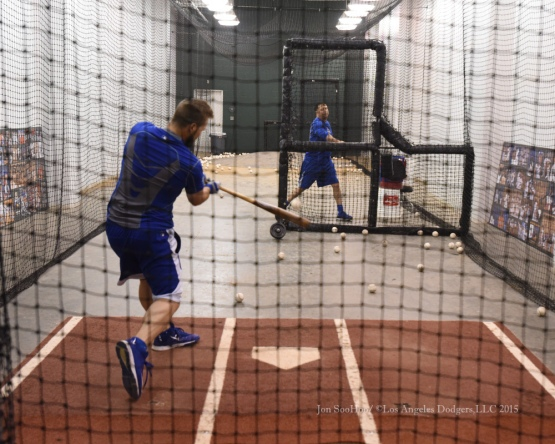 Chris Heisey hits in the cage prior to  game against the Texas Rangers Tuesday, June 16, 2015 at  Globe Life Park in Arlington Park,Texas. The Rangers beat the Dodgers 3-2.  Photo by Jon SooHoo/© Los Angeles Dodgers,LLC 2015