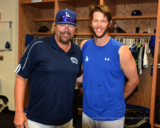 Country singer Toby Keith poses with Clayton Kershaw prior to Los Angeles Dodgers game against the Texas Rangers Tuesday, June 16, 2015 at  Globe Life Park in Arlington Park,Texas. The Rangers beat the Dodgers 3-2.  Photo by Jon SooHoo/© Los Angeles Dodgers,LLC 2015