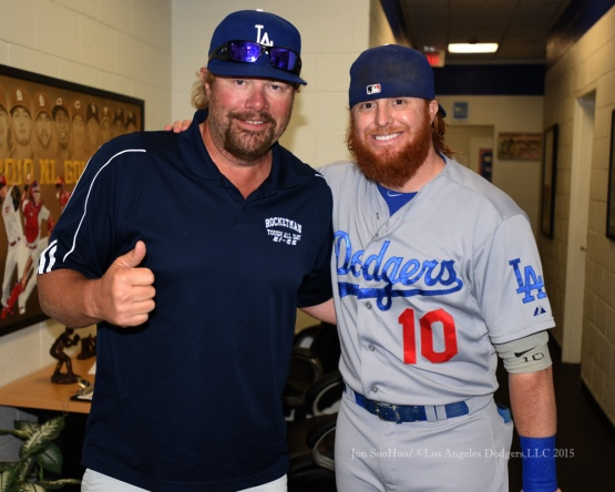Justin Turner poses with Toby Keith prior to game against the Texas Rangers Tuesday, June 16, 2015 at  Globe Life Park in Arlington Park,Texas. The Rangers beat the Dodgers 3-2.  Photo by Jon SooHoo/© Los Angeles Dodgers,LLC 2015