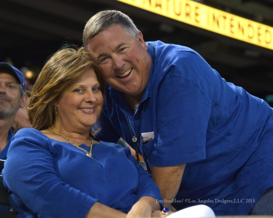 Sherri and Bobby Patton pose during the Los Angeles Dodgers  game against the Texas Rangers Tuesday, June 16, 2015 at  Globe Life Park in Arlington Park,Texas. The Rangers beat the Dodgers 3-2.  Photo by Jon SooHoo/© Los Angeles Dodgers,LLC 2015
