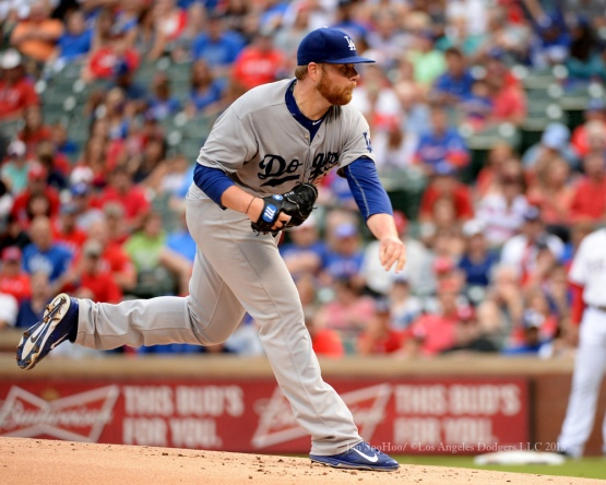 Brett Anderson pitches against the Texas Rangers Tuesday, June 16, 2015 at  Globe Life Park in Arlington Park,Texas. The Rangers beat the Dodgers 3-2.  Photo by Jon SooHoo/© Los Angeles Dodgers,LLC 2015