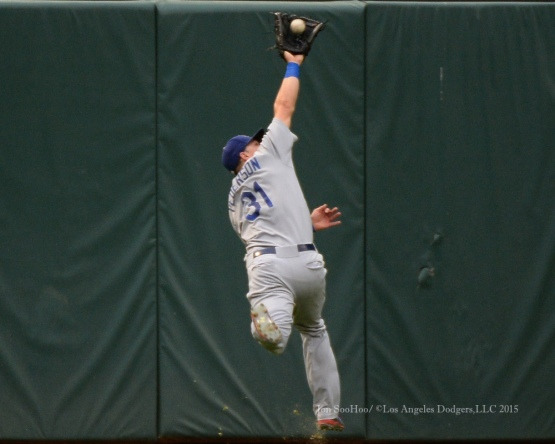 Joc Pederson hauls one down during game against the Texas Rangers Tuesday, June 16, 2015 at  Globe Life Park in Arlington Park,Texas. The Rangers beat the Dodgers 3-2.  Photo by Jon SooHoo/© Los Angeles Dodgers,LLC 2015