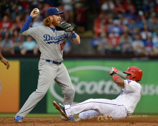 Justin Turner throws to first  during game against the Texas Rangers Tuesday, June 16, 2015 at  Globe Life Park in Arlington Park,Texas. The Rangers beat the Dodgers 3-2.  Photo by Jon SooHoo/© Los Angeles Dodgers,LLC 2015