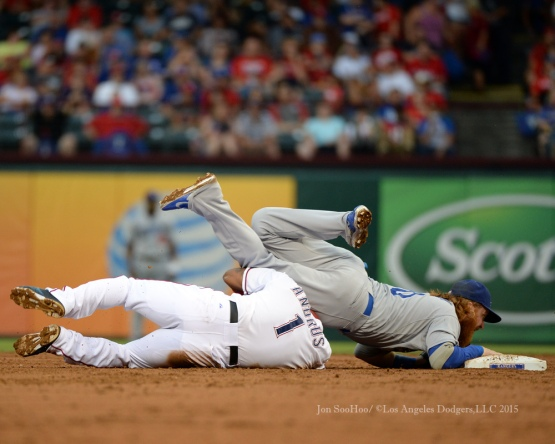 Justin Turner is taken out at second base during game against the Texas Rangers Tuesday, June 16, 2015 at  Globe Life Park in Arlington Park,Texas. The Rangers beat the Dodgers 3-2.  Photo by Jon SooHoo/© Los Angeles Dodgers,LLC 2015