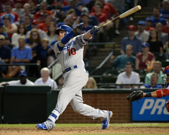 Justin Turner hits two run home run during game against the Texas Rangers Tuesday, June 16, 2015 at  Globe Life Park in Arlington Park,Texas. The Rangers beat the Dodgers 3-2.  Photo by Jon SooHoo/© Los Angeles Dodgers,LLC 2015