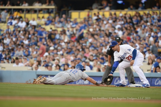 Los Angeles Dodgers during game against the Texas Rangers Wednesday, June 17, 2015 at  Dodger Stadium in Los Angeles.  Photo by Jon SooHoo/© Los Angeles Dodgers,LLC 2015