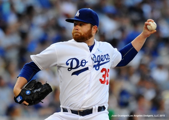 Dodgers' starter Brett Anderson pitches during the game.