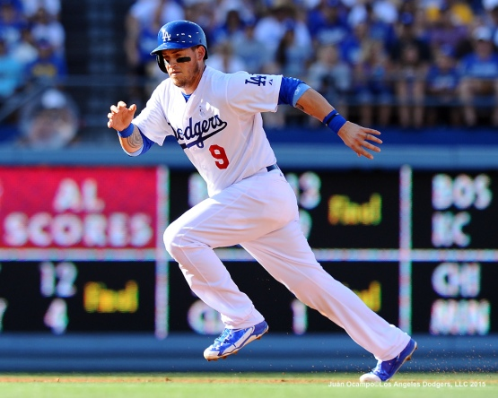 Yasmani Grandal advances to third base in the second inning.
