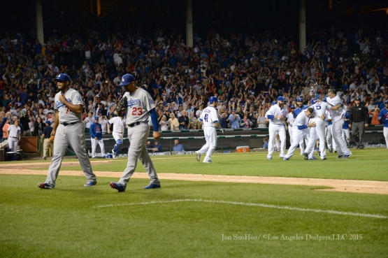 Los Angeles Dodgers during game against the Chicago Cubs Tuesday, June 23, 2015 at Wrigley Field in Chicago, Illinois. The Cubs beat the Dodgers 1-0. Photo by Jon SooHoo/©Los Angeles Dodgers,LLC 2015
