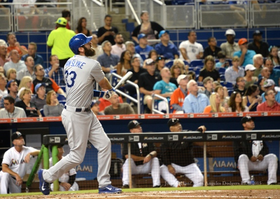 Los Angeles Dodgers during game against the Miami Marlins Friday, June 26, 2015 at Marlins Park in Miami, Florida. The Dodgers beat the Marlins . Photo by Jon SooHoo/©Los Angeles Dodgers,LLC 2015