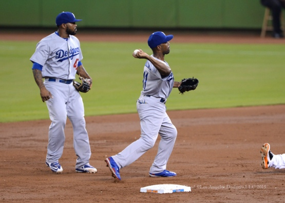 Los Angeles Dodgers during game against the Miami Marlins Saturday, June 27, 2015 at Marlins Park in Miami, Florida. The Marlins beat the Dodgers 3-2 . Photo by Jon SooHoo/©Los Angeles Dodgers,LLC 2015