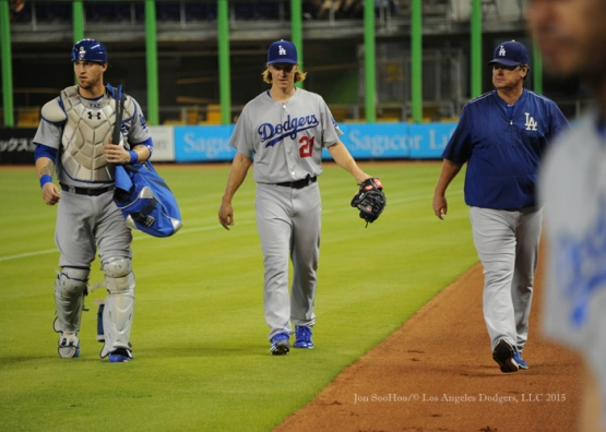 Los Angeles Dodgers during game against the Miami Marlins Sunday, June 28, 2015 at Marlins Park in Miami, Florida. The  Dodgers beat the Marlins 2-0 . Photo by Jon SooHoo/©Los Angeles Dodgers,LLC 2015