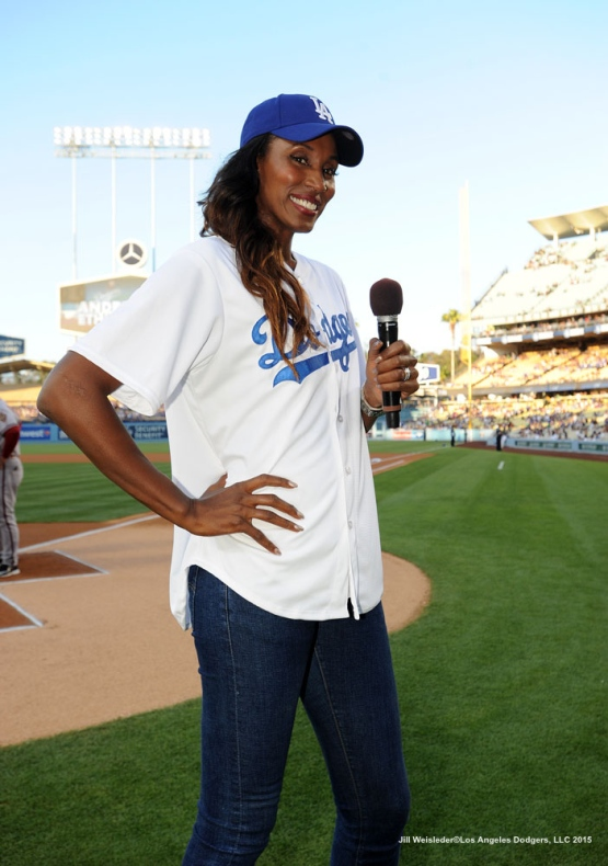 WNBA MVP and four-time Olympic gold medal winner Lisa Leslie addresses the crowd prior to the start of the game. Jill Weisleder/LA Dodgers