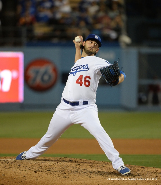 Starting pitcher Mike Bolsinger delivers a pitch on the mound.  Jill Weisleder/LA Dodgers