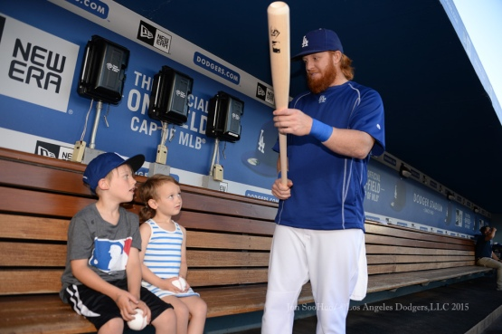 Justin Turner visits with Ezra and Micah Brown prior to Los Angeles Dodgers game against the Texas Rangers Thursday, June 18, 2015 at Dodger Stadium. Photo by Jon SooHoo/©Los Angeles Dodgers,LLC 2015