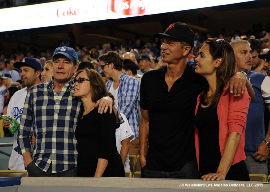 Actors Bryan Cranston and Benjamin Bratt watch the Dodgers and the Giants game. Jill Weisleder/LA Dodgers