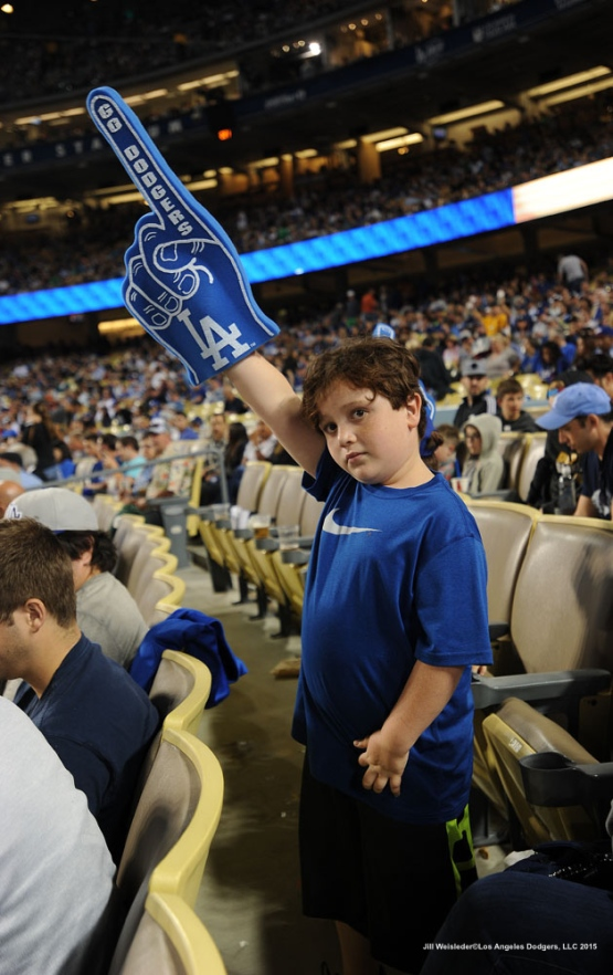 A young Dodger fan shows his support for the team. Jill Weisleder/LA Dodgers