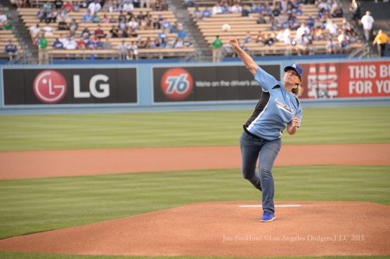 Dr. Justine Siegal throws out the ceremonial first pitch prior to the Los Angeles Dodgers game against the Texas Rangers Thursday, June 18, 2015 at Dodger Stadium. Photo by Jon SooHoo/©Los Angeles Dodgers,LLC 2015