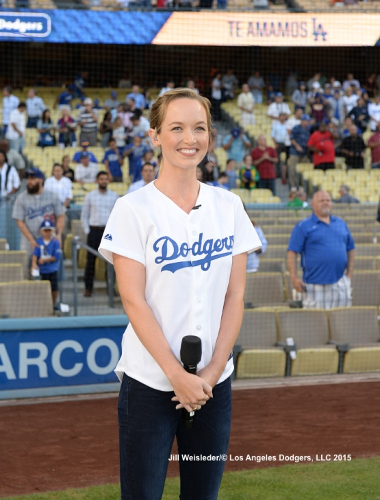 Kelley Jakle, the star of Pitch Perfect 2 and great-granddaughter of Baseball Hall of Fame executive Branch Rickey performs the national anthem. Jill Weisleder/LA Dodgers