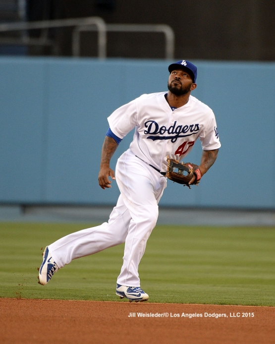 Howie Kendrick keeps his eye on the ball. Jill Weisleder/LA Dodgers