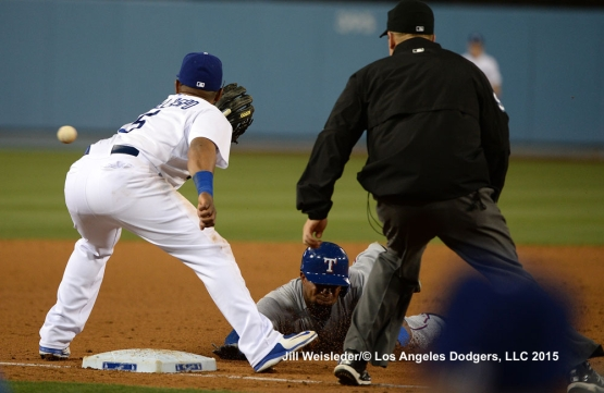 Alberto Callaspo makes the catch at third base. Jill Weisleder/LA Dodgers