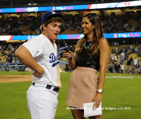 Enrique Hernandez is interviewed after the game. Jill Weisleder/LA Dodgers
