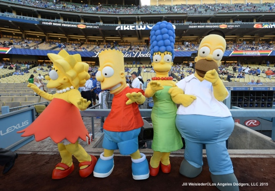 The Simpson characters join the pre-game festivities prior to the start of the game. Jill Weisleder/LA Dodgers