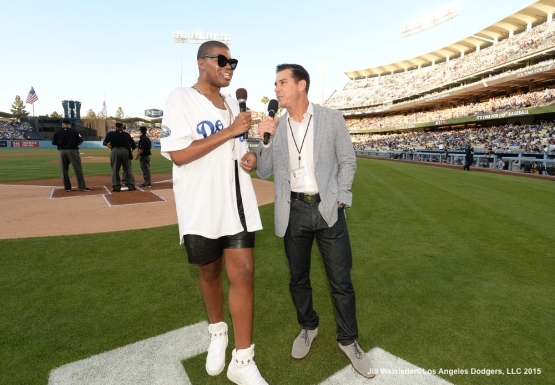 EJ Johnson and MLB's Ambassador of Inclusion Billy Bean join in for pre-game festivities. Jill Weisleder/LA Dodgers