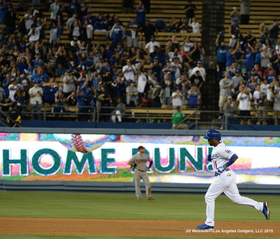 Jimmy Rollins rounds the bases after slugging his seventh home run of the season. Jill Weisleder/LA Dodgers