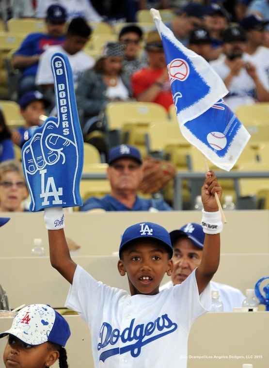 A young fan shows his support for the Dodgers.