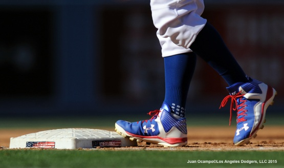 A view of Joc Pederson's cleats at third base during the game.