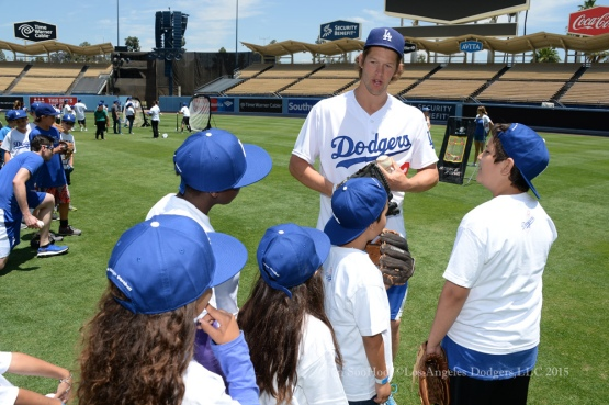 Clayton Kershaw hosts clinic for youth from the Dream Center Saturday, July 11, 2015 at Dodger Stadium in Los Angeles,California.  Photo by Jon SooHoo/©Los Angeles Dodgers,LLC 2015