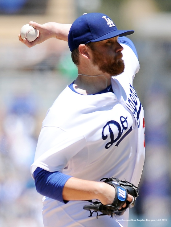 Brett Anderson throws from the mound.