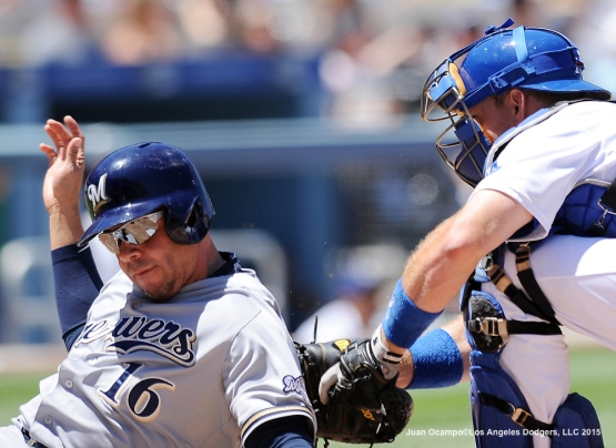 A.J. Ellis tags out the Brewers' Aramis Ramirez in the fourth inning.