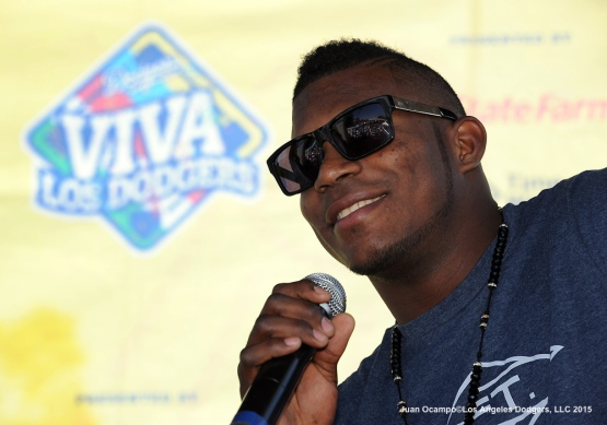 Yasiel Puig addresses the fans during Cuban Heritage Day at Viva Los Dodgers.